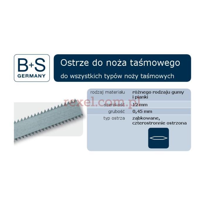 5240x12x0,45 BS 2-str ząb Taśma do noża taśmowego ząbkowana D1,5mm 7-8 ząbków 2-stronna