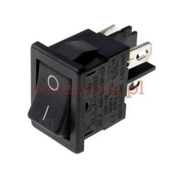 Przełącznik kołyskowy 10A/250V, ON-OFF, czarny 4p