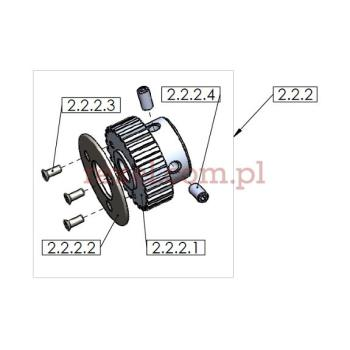 Koło zębate z tarczą na wałek silnika UK-1 o średnicy ostrza 125mm, 150mm